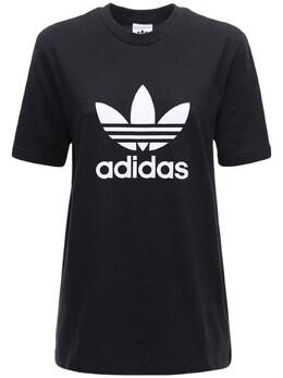 Футболка Из Хлопка 3-stripes Adidas Originals 72IGZU005-QkxBQ0s1