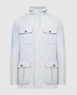 Голубая куртка из шерсти, шелка и льна Isaia 2300005902216