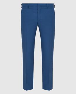 Синие брюки из шерсти Prada 2300005860028