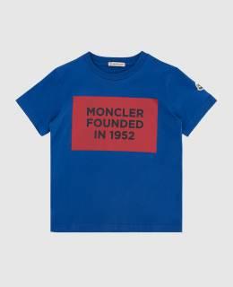 Детская синяя футболка Moncler Enfant 2300005969370