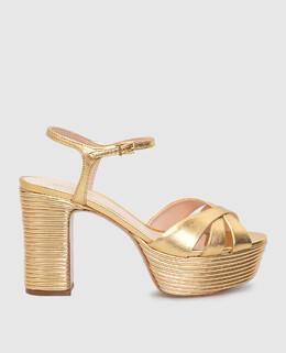 Золотистые кожаные босоножки Schutz 2300005930349