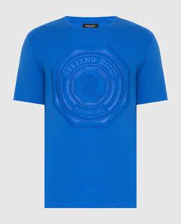 Синяя футболка Stefano Ricci 2300005776466