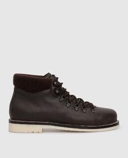 Темно-коричневые кожаные ботинки Loro Piana 2300005856601