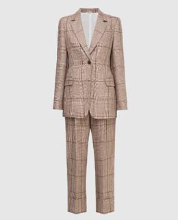 Бежевый костюм из льна Brunello Cucinelli 2300006008115