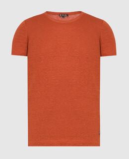 Терракотовая футболка из льна Loro Piana 2300005937119