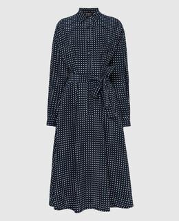 Темно-синее платье из шелка Loro Piana 2300005733162