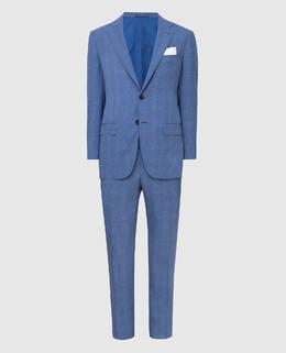 Синий костюм из шерсти Kiton 2300005896249