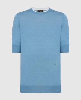 Голубая футболка из кашемира и шелка Loro Piana 2300005779290
