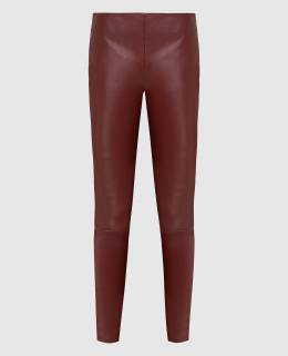 Бордовые кожаные леггинсы Kiton 2300006064685