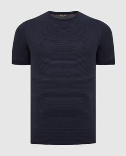 Темно-синяя футболка Loro Piana 2300006167454