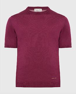 Бордовая футболка из шелка Castello D'Oro 2300006151330