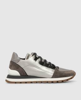 Серебристые кожаные кроссовки Brunello Cucinelli 2300006204173