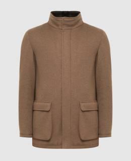 Бежевое пальто из кашемира с мехом нутрии Loro Piana 2300006269080
