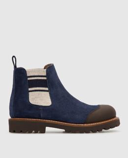 Детские синие замшевые челси Brunello Cucinelli 2300006251368
