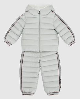 Детский светло-серый пуховой костюм Moncler Enfant 2300006281402