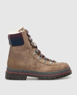 Детские бежевые кожаные ботинки Brunello Cucinelli 2300006286957