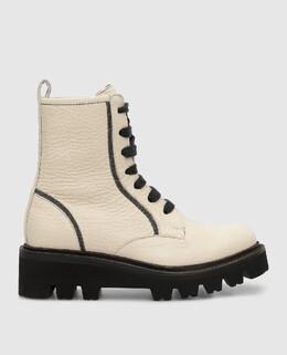 Детские светло-бежевые кожаные ботинки Brunello Cucinelli 2300006286896