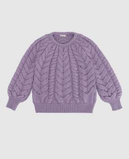 Детский сиреневый свитер из кашемира Brunello Cucinelli 2300006287114