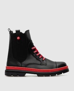 Детские черные кожаные ботинки на меху Dolce&Gabbana 2300006335679