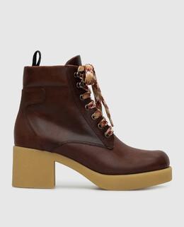 Коричневые кожаные ботинки Miu Miu 2300006351099