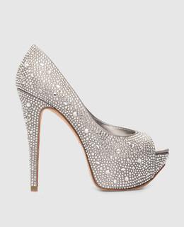 Серебристые туфли с кристаллами Gina 2900002082159