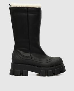 Черные кожаные ботинки на меху Prada 2300006367205