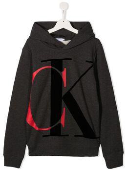 Calvin Klein Kids TEEN logo-print cotton hoodie IB0IB00628