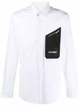 Les Hommes рубашка на пуговицах с нашивкой-логотипом LJS406403I