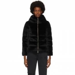Herno Black Down Faux Fur Jacket PI1166D 12354