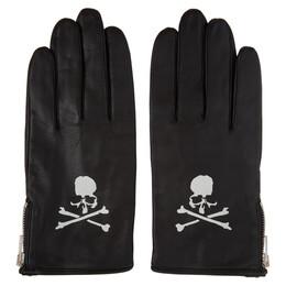 Mastermind World Black Leather Logo Gloves MW20S05-GL001