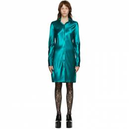 Dries Van Noten Blue Satin Shirt Dress 1042 Calla Long