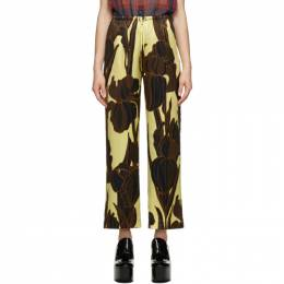 Dries Van Noten Yellow and Black Silk Floral Trousers 1135 Puvis