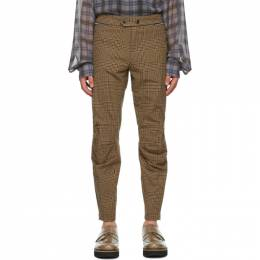Dries Van Noten Brown and Black Houndstooth Zip Trousers 20930-1327-975