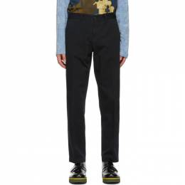 Dries Van Noten Navy Cotton Twill Trousers 20951-1282-509