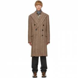 Dries Van Noten Brown Wool and Alpaca Double-Breasted Coat 20209-1260-703