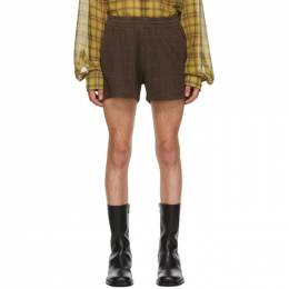 Dries Van Noten Brown Herringbone Check Shorts 21126-1160-703
