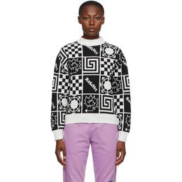 Rassvet Black and White Wool Jacquard Sweater PACC7N003