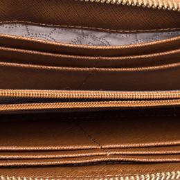 Michael Kors Brown Leather Jet Set Travel Zip Around Wallet 347287