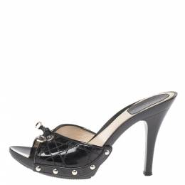 Dior Black Quilted Patent Leather Clog Sandals Size 36.5 341535