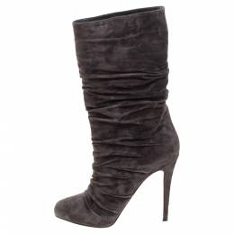 Christian Louboutin Dark Brown Pleated Suede Prios Mid Calf Boots Size 39.5 341087