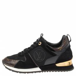Louis Vuitton Black Monogram Canvas, Leather and Mesh Run Away Lace Up Sneakers Size 39 341382