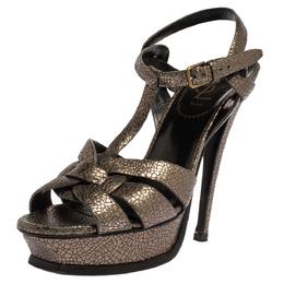 Yves Saint Laurent Metallic Grey Textured Leather Tribute Platform Sandals Size 38 338959