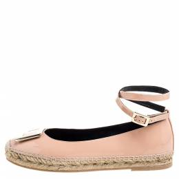 Roger Vivier Light Pink Patent Leather Buckle Ankle Wrap Espadrille Flats Size 39.5 341079