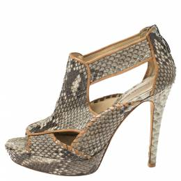 Alexandre Birman Grey Python Platform Platform Sandals Size 39.5 347292