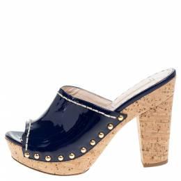 Prada Royal Blue Patent Leather Studded Cork Mule Sandals Size 36.5 341337