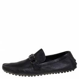 Louis Vuitton Black Leather Hockenheim Logo Detail Slip On Loafers Size 43 340883