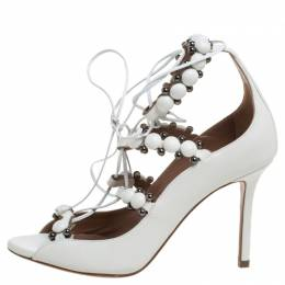 Alaia White Leather Studded Lace Up Open Toe Sandals Size 35 338693