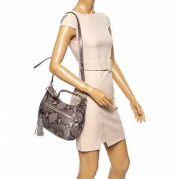 Michael Michael Kors Grey/Black Python Embossed Leather Crossbody Bag 340855