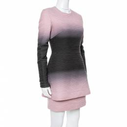 Elie Saab Pink Ombre Ribbed Layered Dress S 341551