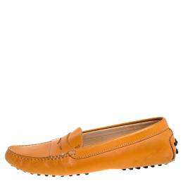 Tod's Orange Leather Penny Slip On Loafers Size 39 347238